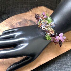 Handmade Wired Beaded Glass Flower/Grape Bracelet